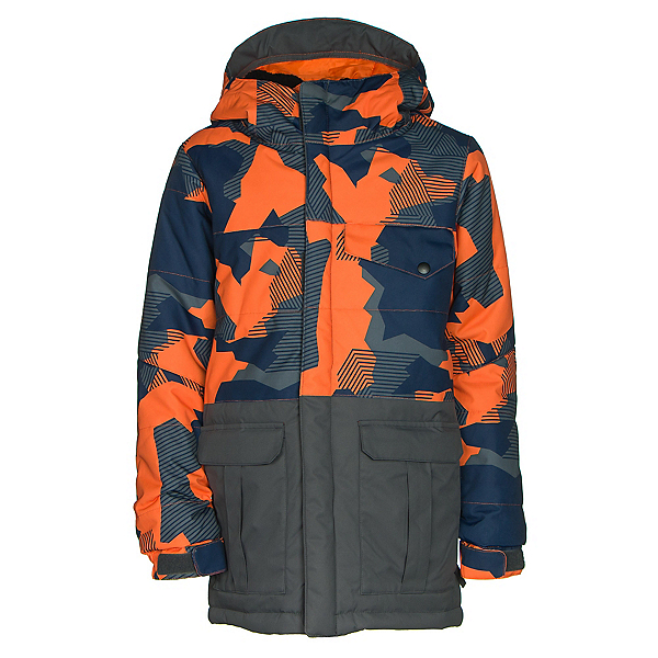 686 Onyx Insulated Boys Snowboard Jacket, Orange Geo Camo Colorblock, 600