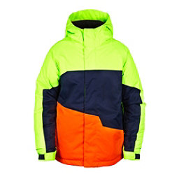 686 Grid Insulated Boys Snowboard Jacket, Mantis Green Colorblock, 256