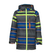 686 Jinx Insulated Boys Snowboard Jacket, Cobalt Stripe, medium