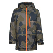 686 Jinx Insulated Boys Snowboard Jacket, Olive Geo Camo, medium