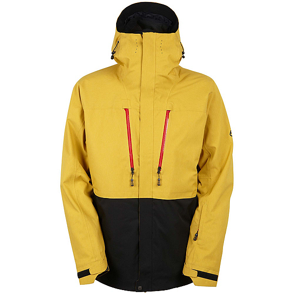 686 GLCR Ether Down Thermagraph Down Mens Insulated Snowboard Jacket, Harvest Gold Colorblock, 600