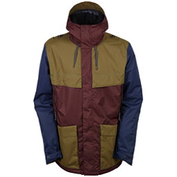 686 Parklan Field Mens Insulated Snowboard Jacket, Black Ruby Colorblock, 256