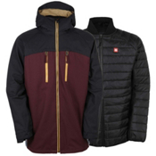 686 Authentic Smarty Automatic Mens Insulated Snowboard Jacket, Black Ruby Colorblock, medium