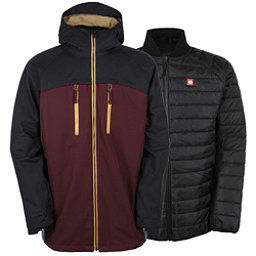 686 Authentic Smarty Automatic Mens Insulated Snowboard Jacket, Black Ruby Colorblock, 256