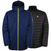 686 Authentic Smarty Automatic Mens Insulated Snowboard Jacket, Midnight Blue Colorblock, medium