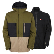 686 Authentic Smarty Form Mens Insulated Snowboard Jacket, Olive Colorblock, medium