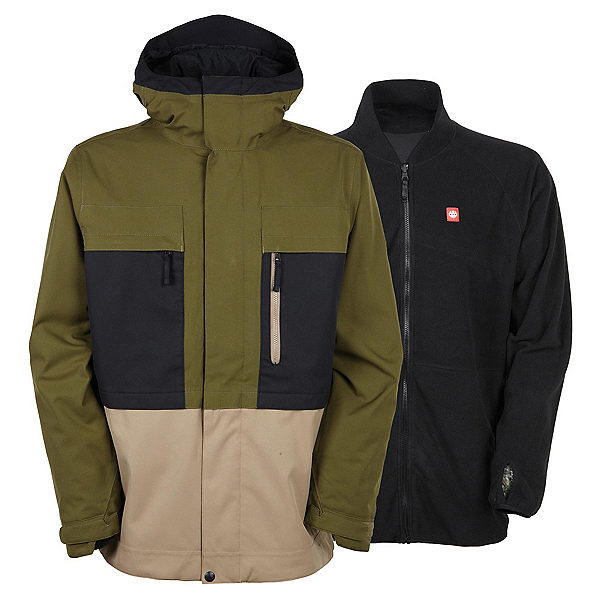 686 Authentic Smarty Form Mens Insulated Snowboard Jacket, Olive Colorblock, 600