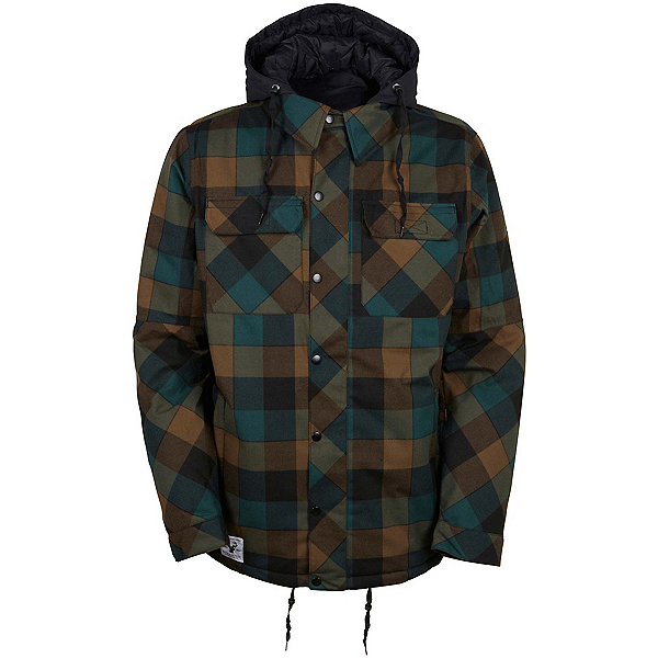 686 Authentic Woodland Mens Insulated Snowboard Jacket, Black Jade Yarn Dye Plaid, 600