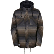 686 Authentic Woodland Mens Insulated Snowboard Jacket, Olive Yarn Dye Stripe, medium
