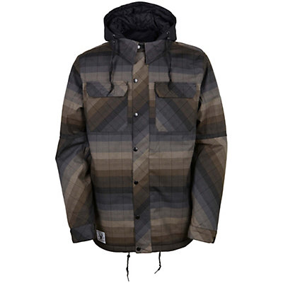 686 Authentic Woodland Mens Insulated Snowboard Jacket, Olive Yarn Dye Stripe, viewer