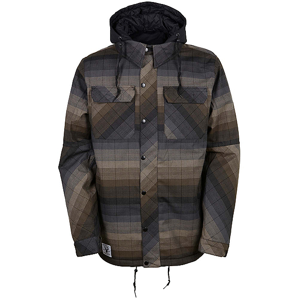 686 Authentic Woodland Mens Insulated Snowboard Jacket, Olive Yarn Dye Stripe, 600