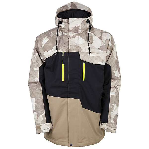686 Authentic Geo Mens Insulated Snowboard Jacket, Khaki Camo Colorblock, 600