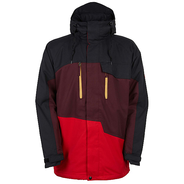 686 Authentic Geo Mens Insulated Snowboard Jacket, Red Colorblock, 600