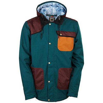 686 Forest Bailey Cosmic Happy Mens Insulated Snowboard Jacket, Black Jade Colorblock, viewer