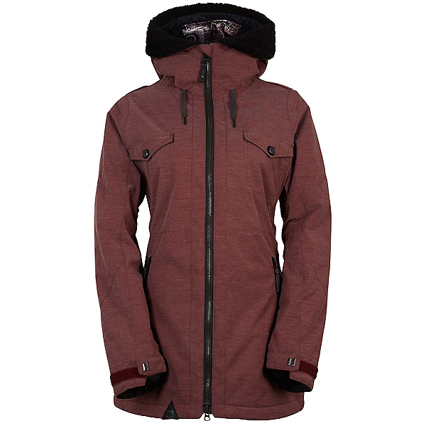 686 Parklan Fortune Womens Insulated Snowboard Jacket, Black Ruby Heather, 600