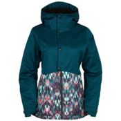 686 Authentic Rumor Womens Insulated Snowboard Jacket, Black Jade Colorblock, medium