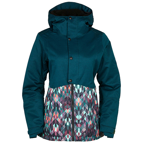 686 Authentic Rumor Womens Insulated Snowboard Jacket, Black Jade Colorblock, 600