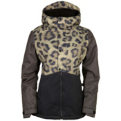 686 Authentic Rumor Womens Insulated Snowboard Jacket, Leopard Colorblock, medium