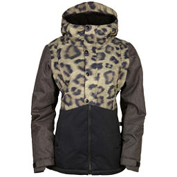 686 Authentic Rumor Womens Insulated Snowboard Jacket, Leopard Colorblock, 256
