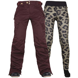 686 Authentic Smarty Cargo Womens Snowboard Pants, Black Ruby, 256