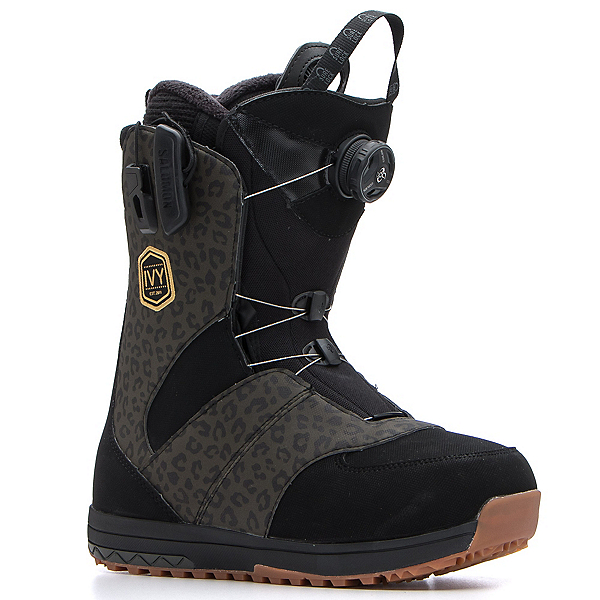 Salomon Ivy Boa Str8jkt Womens Snowboard Boots, Black-Leopard, 600