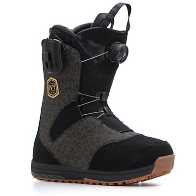 Salomon Ivy Boa Str8jkt Womens Snowboard Boots 2017, Black-Leopard, viewer