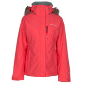 Columbia Lhotse Interchange with Faux Fur Womens Insulated Ski Jacket, Red Camellia, medium