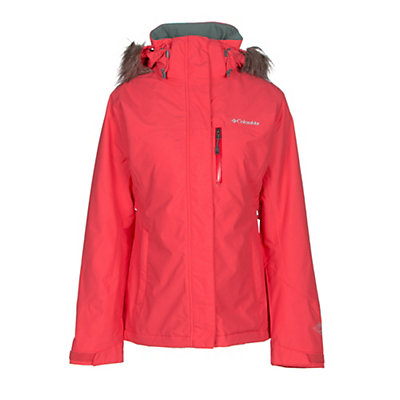 Columbia Lhotse Interchange with Faux Fur Womens Insulated Ski Jacket, Red Camellia, viewer