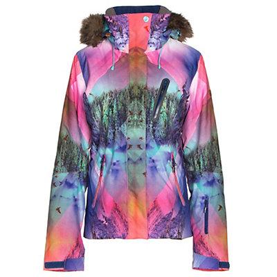 Roxy Jet Ski Premium w/Faux Fur Womens Insulated Snowboard Jacket, Mystic Mountains, viewer