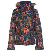 Roxy Jet Ski w/Faux Fur Womens Insulated Snowboard Jacket, Amazone Flowers, medium