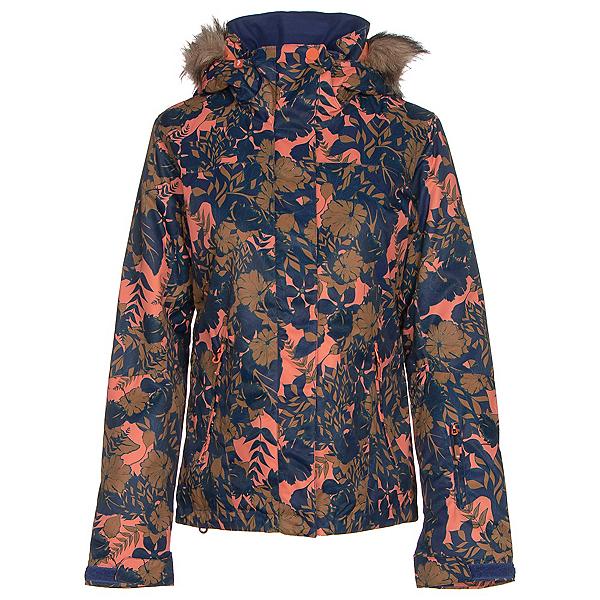 Roxy Jet Ski w/Faux Fur Womens Insulated Snowboard Jacket, Amazone Flowers, 600