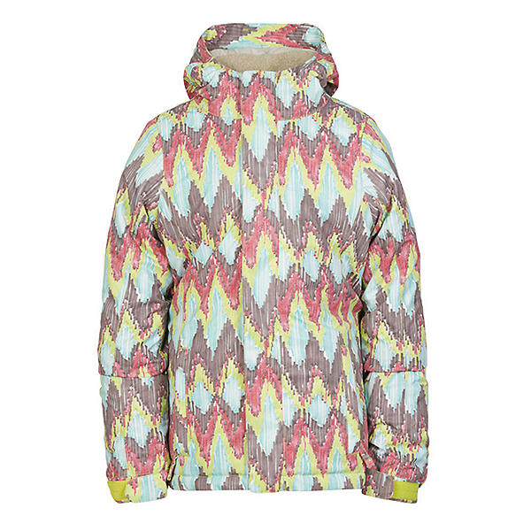 686 Flora Insulated Girls Snowboard Jacket, Lime Ikat, 600