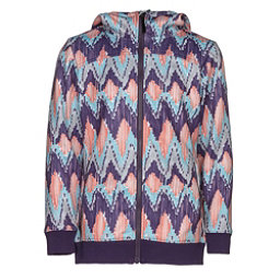 686 Allure Bonded Fleece Girls Kids Hoodie, Violet Ikat, 256