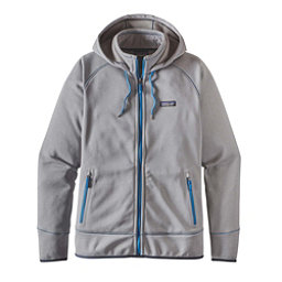 Patagonia Tech Fleece Mens Hoodie, Feather Grey-Bandana Blue, 256