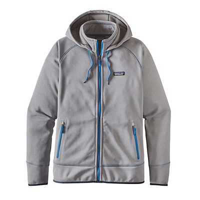 Patagonia Tech Fleece Mens Hoodie, Feather Grey-Bandana Blue, viewer