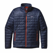 Patagonia Nano Puff Mens Jacket, Navy Blue-Paintbrush Red, medium
