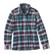 Patagonia Fjord Womens Flannel Shirt, Bay Laurel-Forge Grey, medium