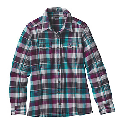 Patagonia Fjord Womens Flannel Shirt, Bay Laurel-Forge Grey, viewer