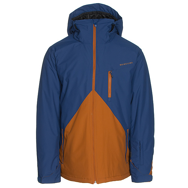 Quiksilver Mission Colorblock Mens Insulated Snowboard Jacket, Sodalite Blue, 600