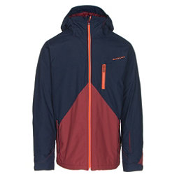 Quiksilver Mission Colorblock Mens Insulated Snowboard Jacket, Navy Blazer, 256