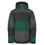 Quiksilver Mission Printed Mens Insulated Snowboard Jacket, S Stripe Jolly Green, medium