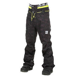 Picture Under Mens Snowboard Pants, Camo Print-Black Leather, 256