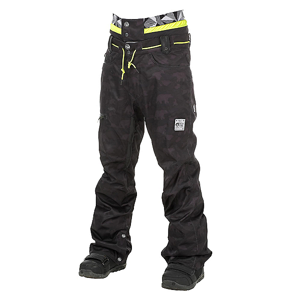 Picture Under Mens Snowboard Pants, Camo Print-Black Leather, 600