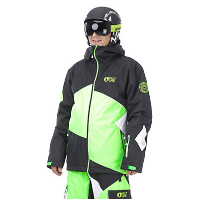 Picture Styler Mens Insulated Ski Jacket, Black-Neon Green-White, viewer