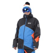 Picture Styler Mens Insulated Ski Jacket, Black-Picture Blue-Orange, medium