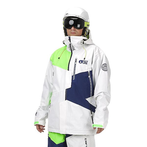 Picture Nova Mens Insulated Ski Jacket, White-Dark Blue-Neon Green, 600