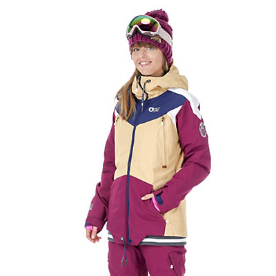 Picture Aroma Womens Insulated Snowboard Jacket, Beige-Burgundy-Dark Blue, viewer