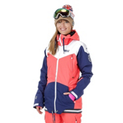 Picture Aroma Womens Insulated Snowboard Jacket, Coral-Dark Blue-White, medium