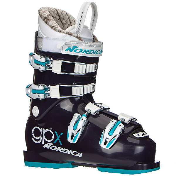 Nordica GPX Team Girls Ski Boots 2018, Dark Purple-Light Blue, 600