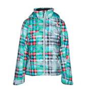 Obermeyer Tabor Print Teen Girls Ski Jacket, Plaid Haze, medium